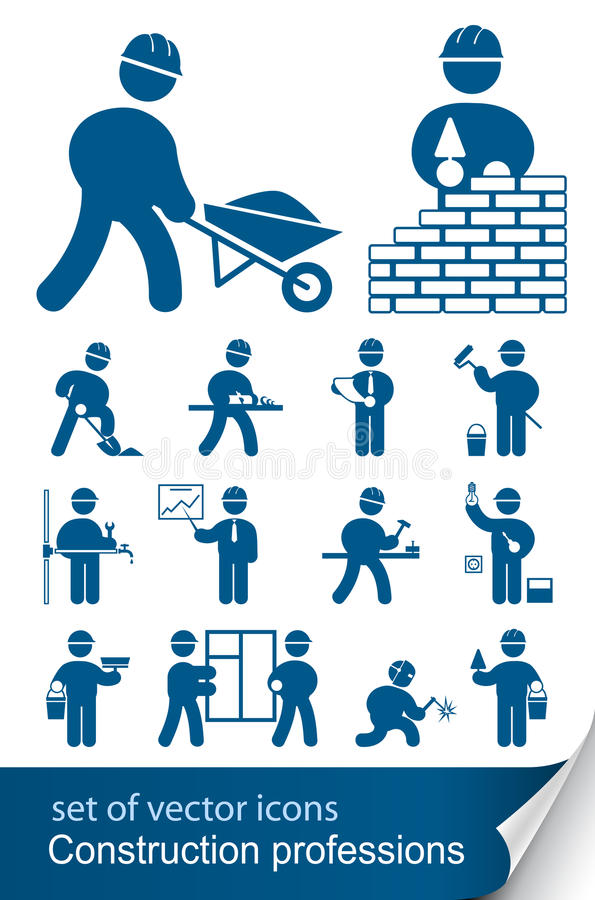 Construction professions. Illustration on white background stock illustration
