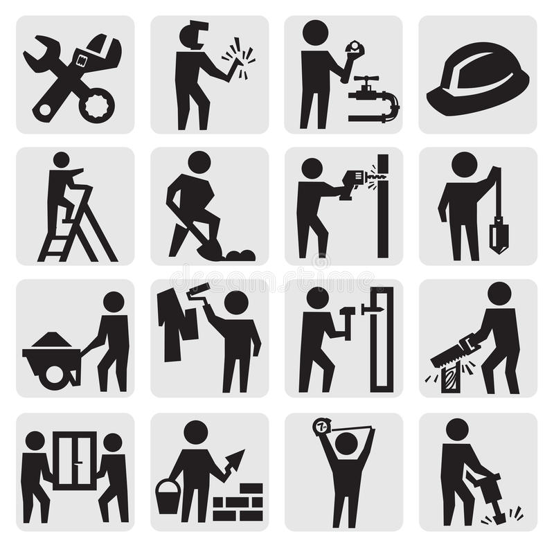 Construction professions. Vector black construction people icon set on gray vector illustration