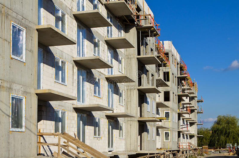 Construction in progress. Concrete raw apartment. stock photography