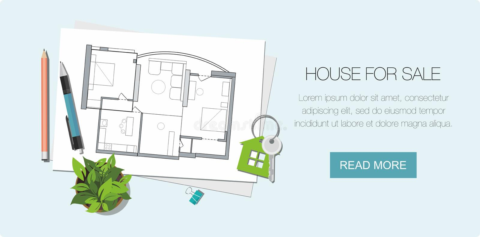 Architect house plan and Key with symbol of house. Construction background.  Web banner. Construction project architect house plan with tools. Key with symbol of royalty free illustration