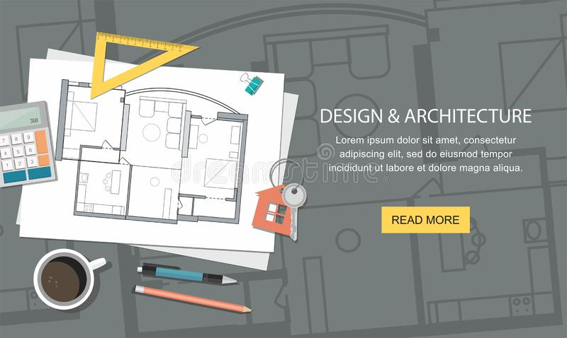 Construction project architect house plan with tools. Key with symbol of house. Construction background. Web banner stock illustration