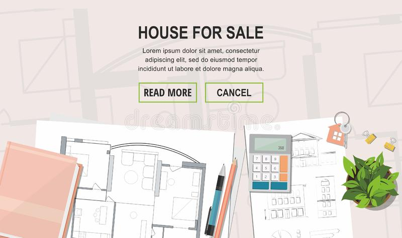 Construction project architect house plan with tools. Key with symbol of house. House for sale. Web banner. Construction project architect house plan with tools royalty free illustration