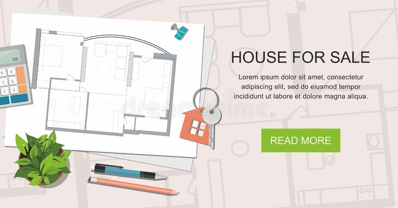 Construction project architect house plan with tools. Key with symbol of house. House for sale. Web banner. Construction project architect house plan with tools stock illustration
