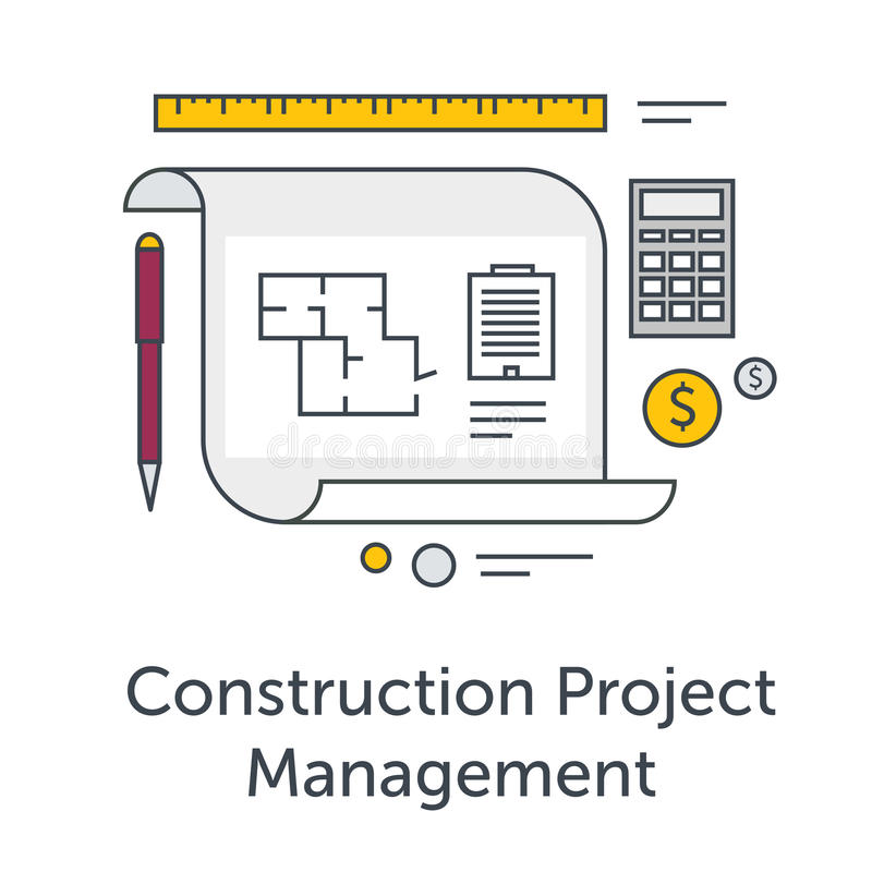Construction Project Management thin line flat icons. Architects workplace illustration. Architecture planning on paper vector illustration