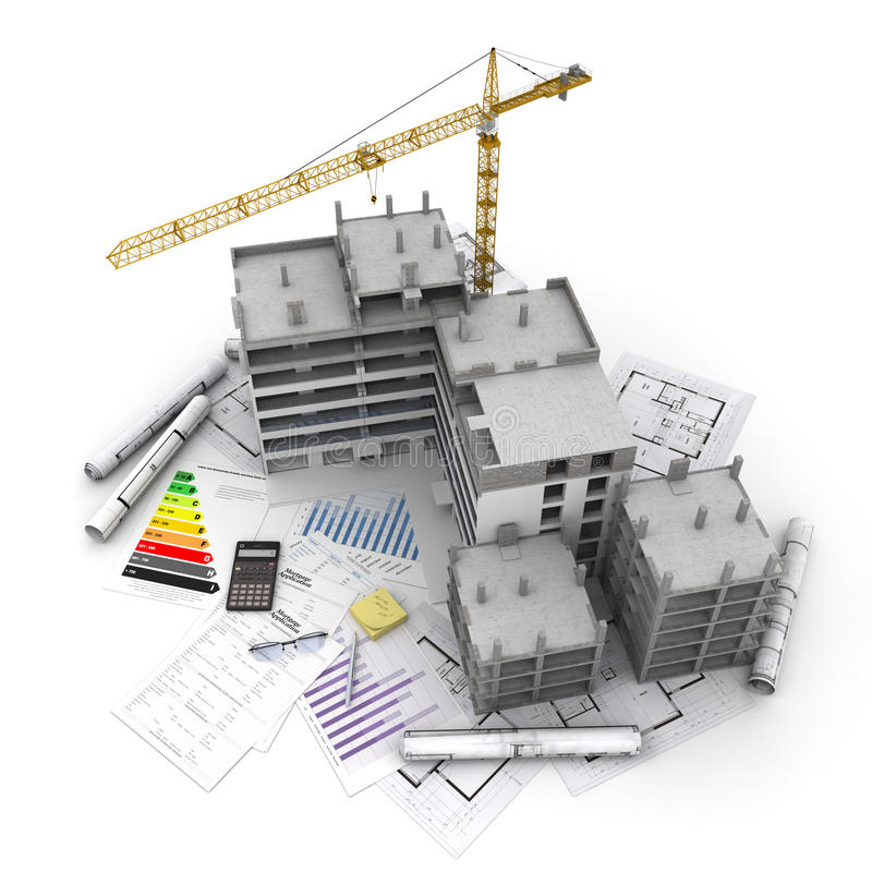 Construction project overview stock illustration image for Mortgage for house under construction