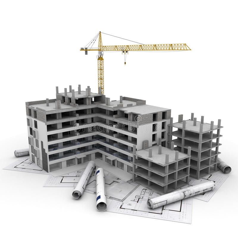 Construction project in progress stock illustration for Home construction project plan
