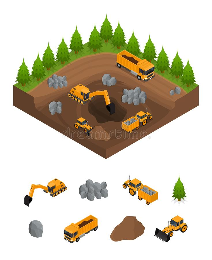 Construction Quarry with Excavators and Equipment Isometric View. Vector. Construction Quarry with Excavators, Equipment and Part Set Isometric View Engineering stock illustration