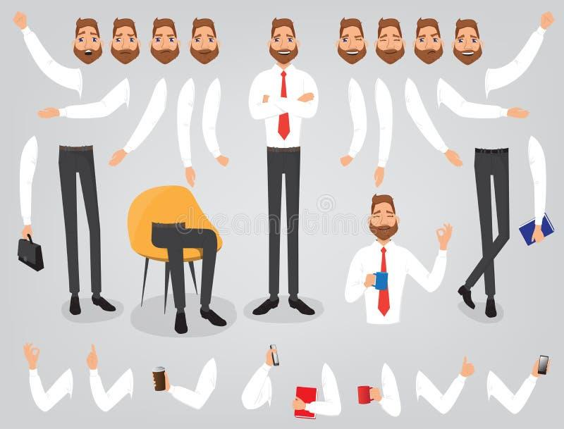 Construction réglée de création d'homme d'affaires votre caractère illustration de vecteur