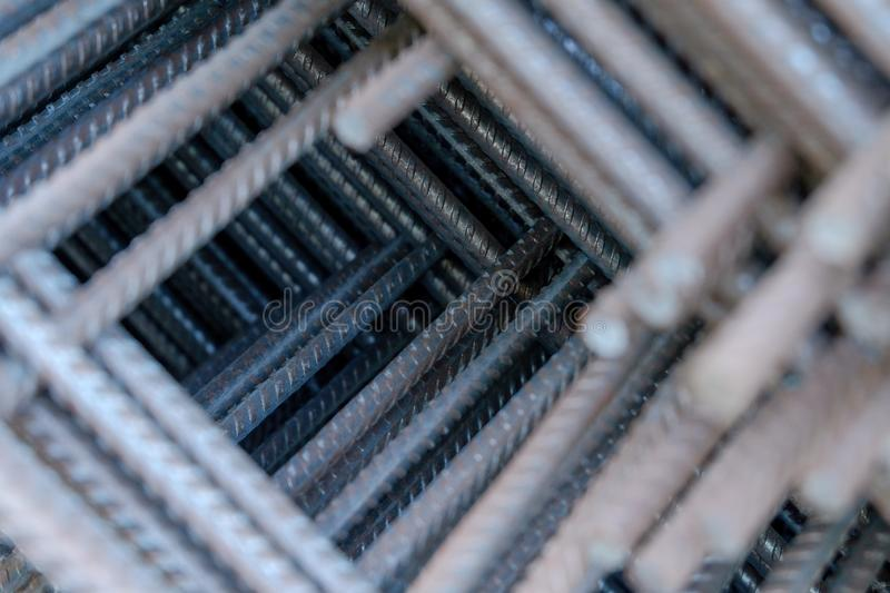 Close up view of construction rebar steel work reinforcement in concrete structure of building stock images