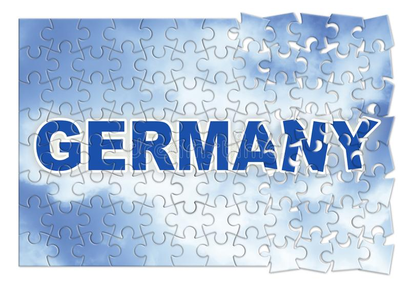 Construction and reconstruction of Germany - concept image in jigsaw puzzle shape stock photo