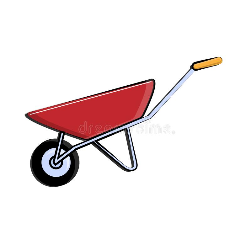 Construction red-and-blue icon of a single-wheeled trolley with one wheel designed for carrying heavy loads, building materials royalty free illustration