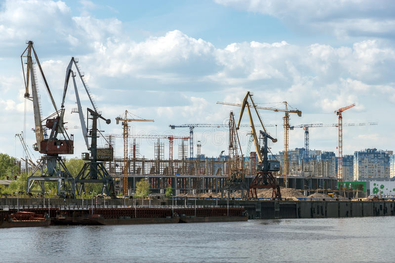 The construction of reinforced concrete structures of the stadium for the World Cup. Nizhny Novgorod royalty free stock photo