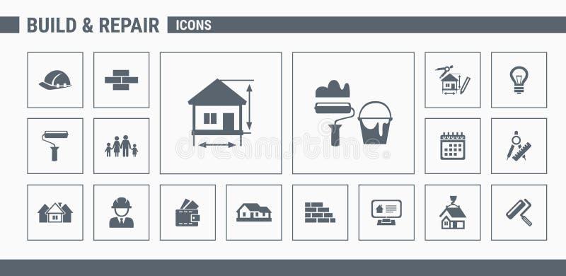 Construction icons set 01 vector illustration