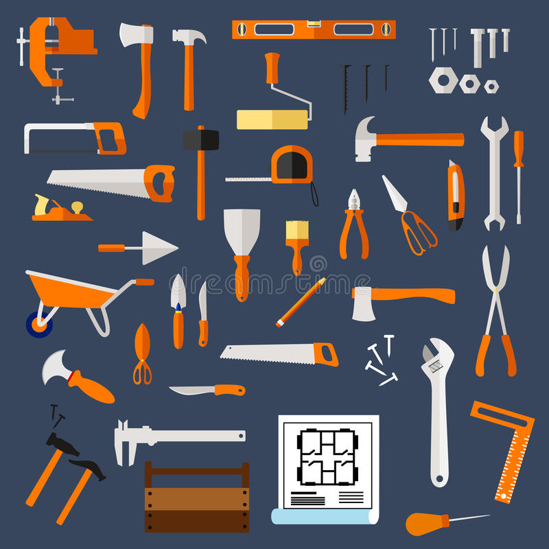 Construction and repair tools flat icons. With hammer axe saw wrench screwdriver scissors trowel spatula paintbrush roller knife fastener pliers, toolbox stock illustration