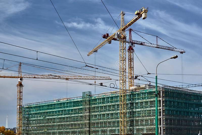 Construction of a residential building royalty free stock photo
