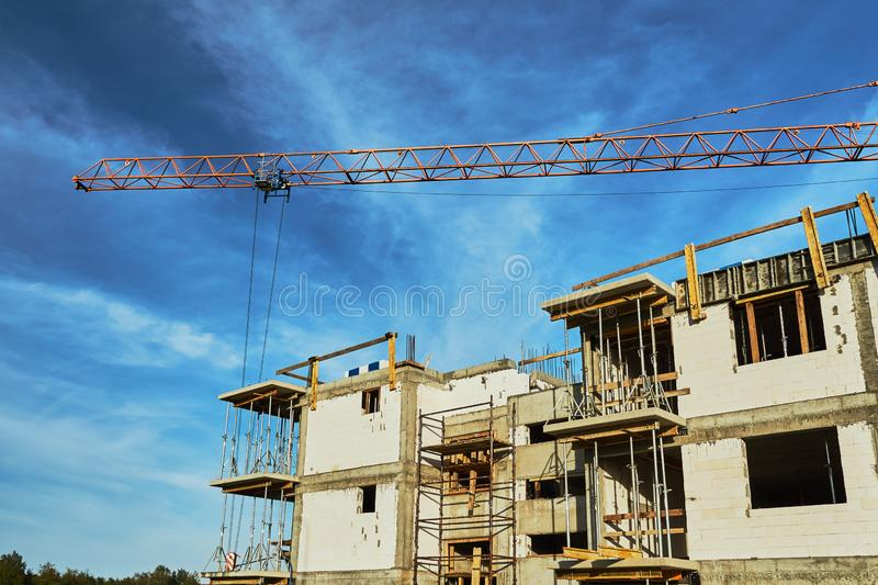 Construction of a residential building stock photo
