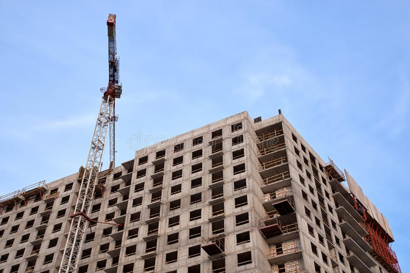 Construction of residential buildings of new neighborhoods. the process of building a multi-storey residential building.  royalty free stock images