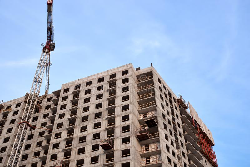 Construction of residential buildings of new neighborhoods. the process of building a multi-storey residential building.  stock photography
