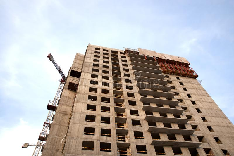 Construction of residential buildings of new neighborhoods. the process of building a multi-storey residential building.  stock image