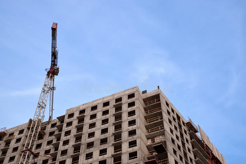 Construction of residential buildings of new neighborhoods. the process of building a multi-storey residential building.  stock images