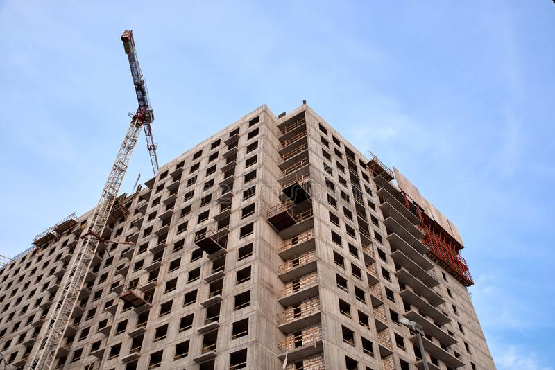 Construction of residential buildings in Saint-Petersburg. Construction of new neighborhoods. Construction of residential buildings of new neighborhoods.  the royalty free stock image