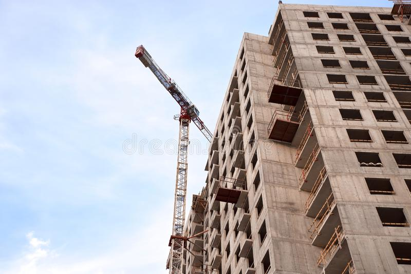 Construction of residential buildings in Saint-Petersburg. Construction of new neighborhoods. Construction of residential buildings of new neighborhoods.  the stock photos