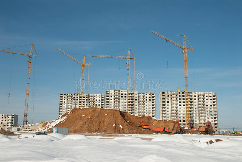 Construction of residential in suburbs of Moscow. Russia. The suburbs of Moscow. Construction of residential in the former fields of aeration near Lyubertsy town royalty free stock images