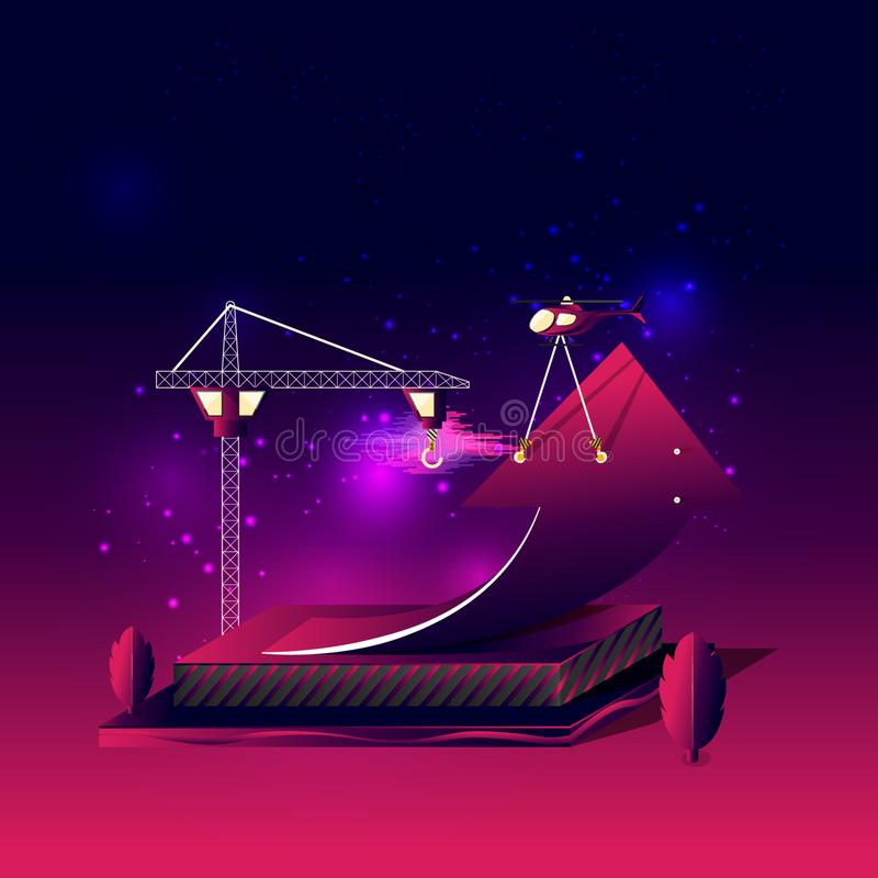 Construction of rising arrow carry by helicopter, surrounding by tree,. Sky clouds, and cluster of scattering stars, on gradient dark violet pink background vector illustration
