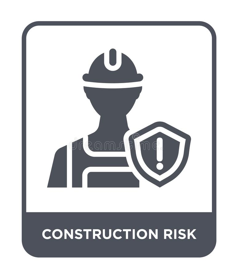 Construction risk icon in trendy design style. construction risk icon isolated on white background. construction risk vector icon. Simple and modern flat symbol vector illustration