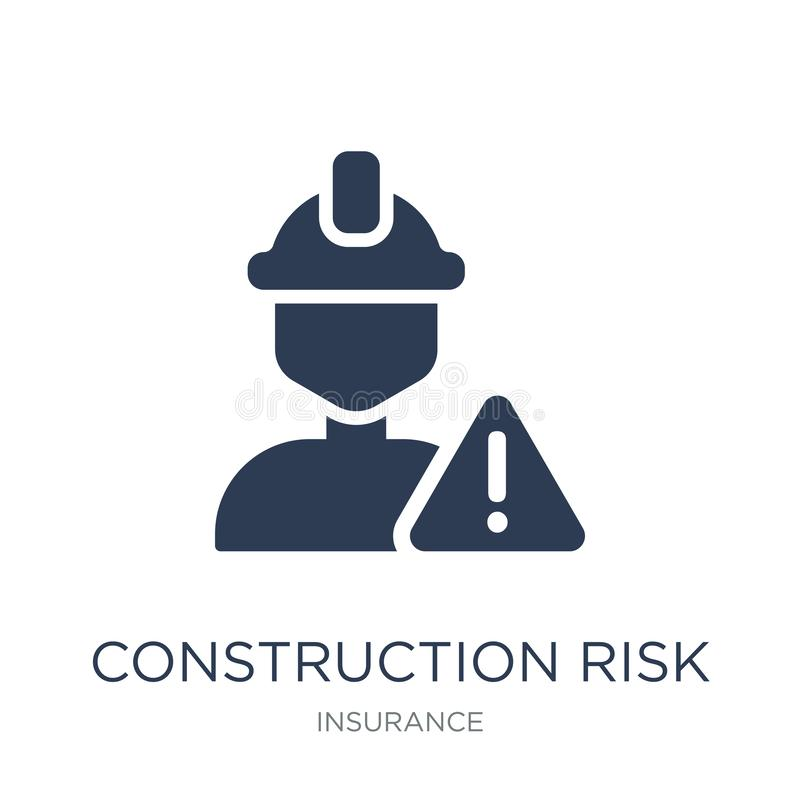 construction risk icon. Trendy flat vector construction risk icon on white background from Insurance collection royalty free illustration