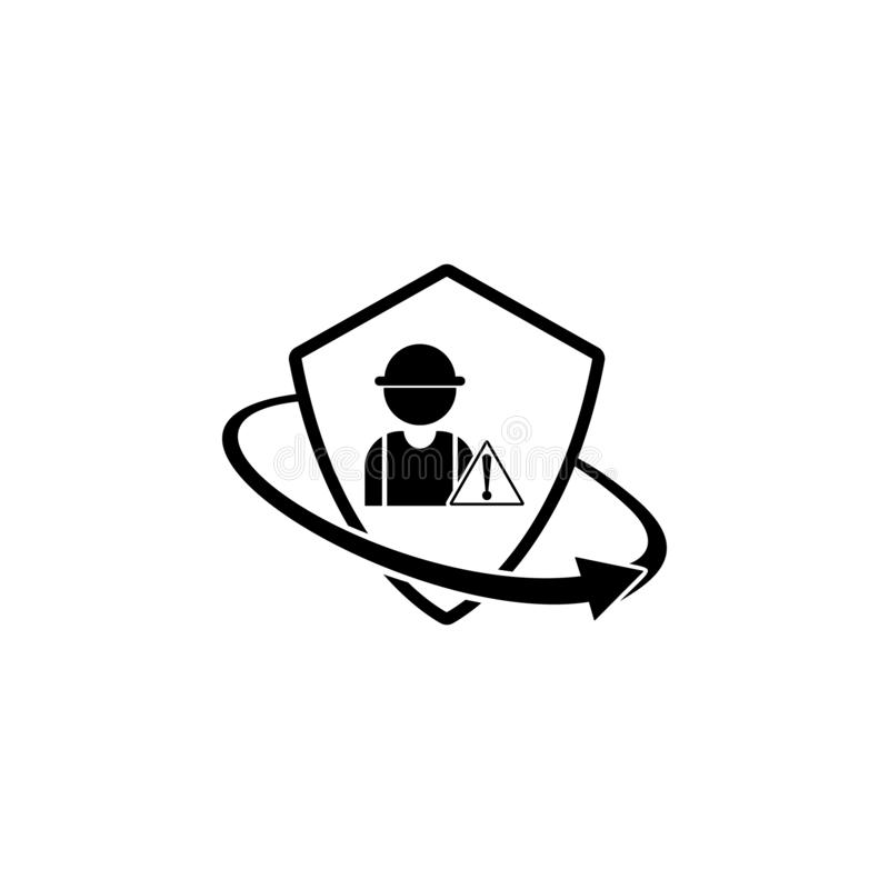 construction risk insurance. Element of insurance in shield icon. Premium quality graphic design icon. Signs and symbols royalty free illustration