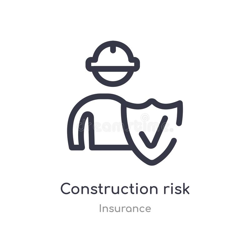 construction risk outline icon. isolated line vector illustration from insurance collection. editable thin stroke construction stock illustration