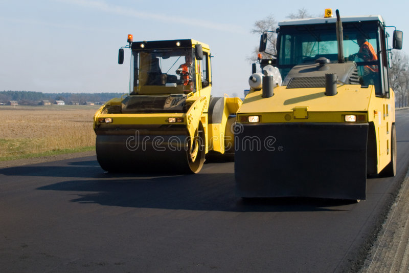 Construction of road stock image
