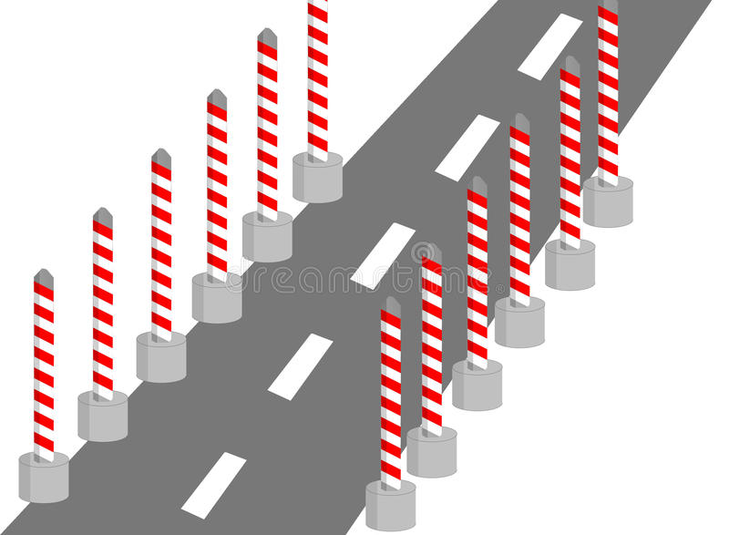 Construction on road. Construction on the road with color red yellow black gray vector illustration