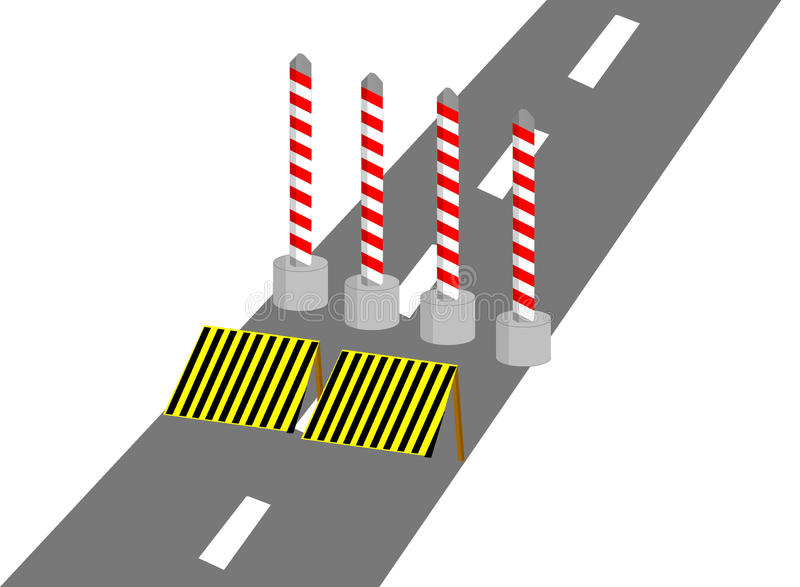 Construction on road. Construction on the road with color red yellow black gray stock illustration