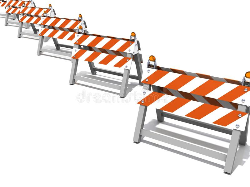 Construction road barriers in a row. 3d stock illustration