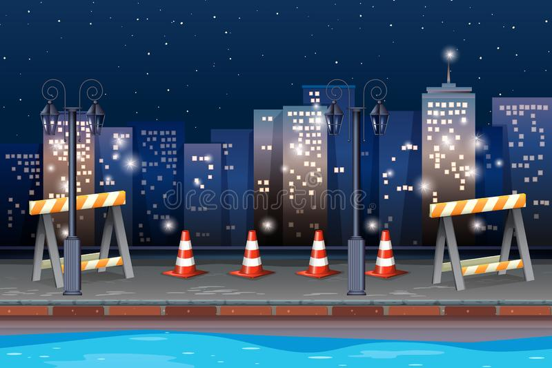 Construction road in the city. Illustration royalty free illustration