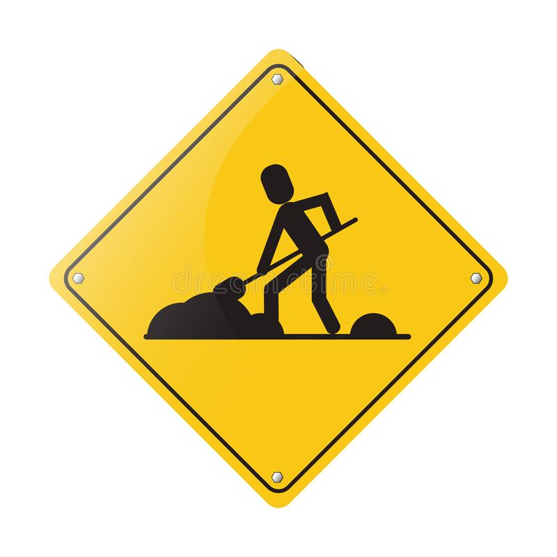 Construction road sign. Worker with shovel pictogram vector illustration graphic design royalty free illustration