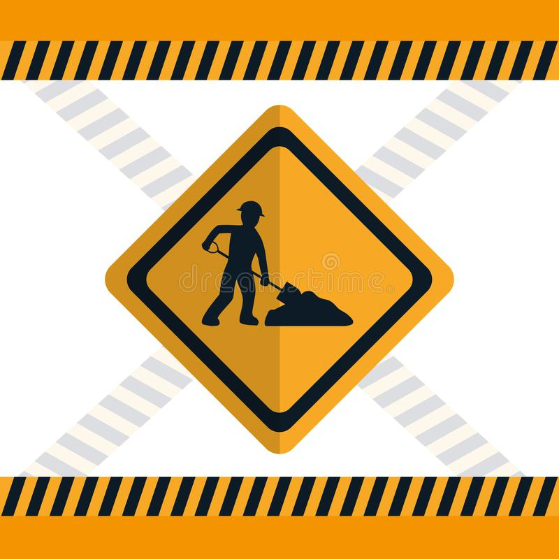 Construction road sign. Construction worker with shovel road sign vector illustration graphic design royalty free illustration
