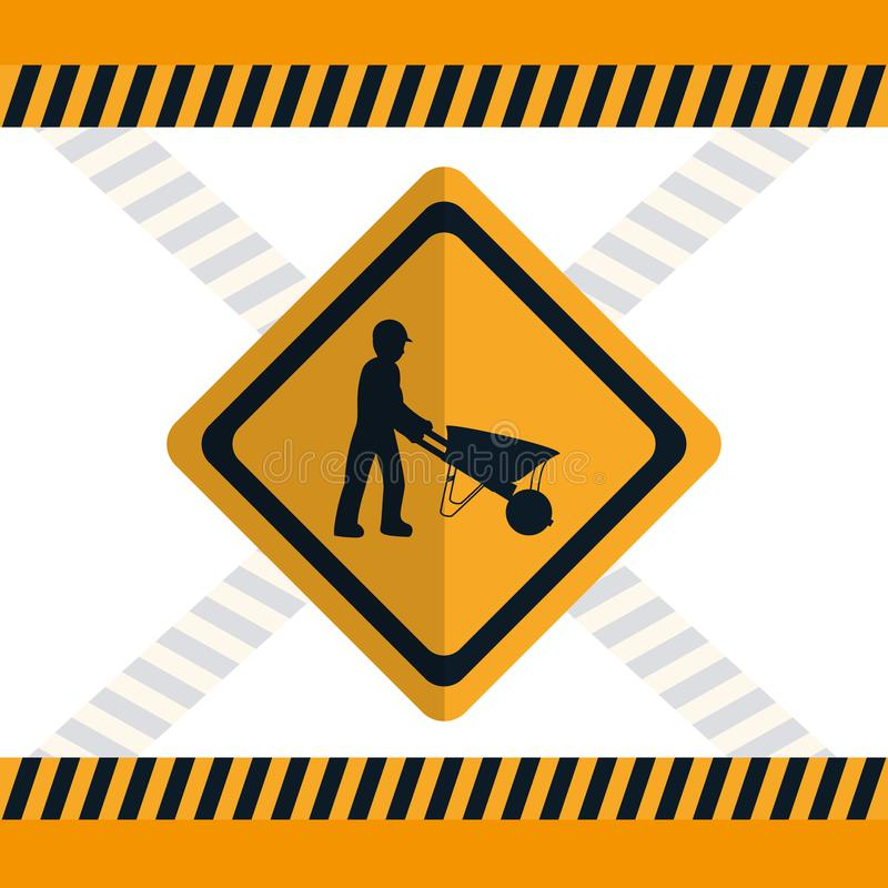 Construction road sign. Construction worker with wheelbarrow road sign vector illustration graphic design stock illustration