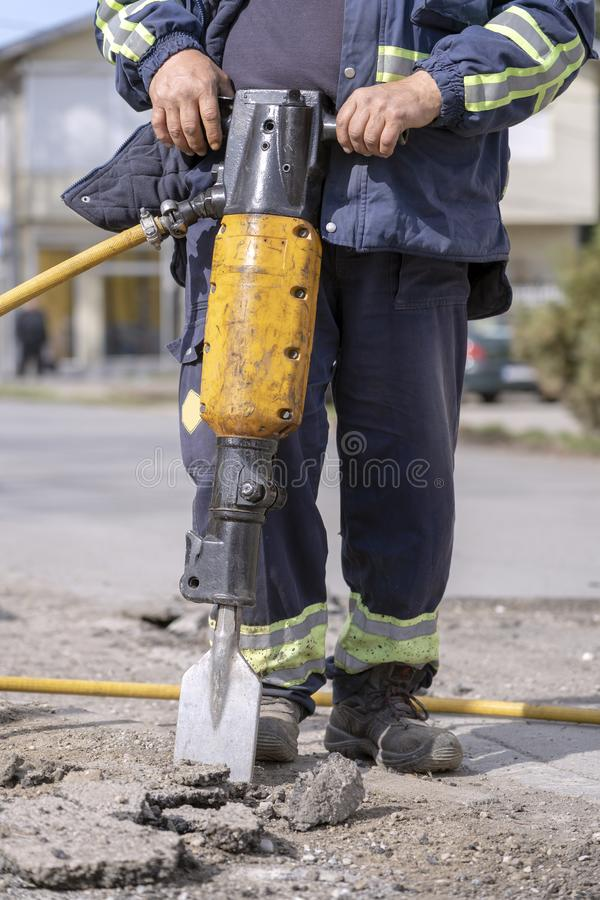 Construction Road Works With Jack Hammer stock photography