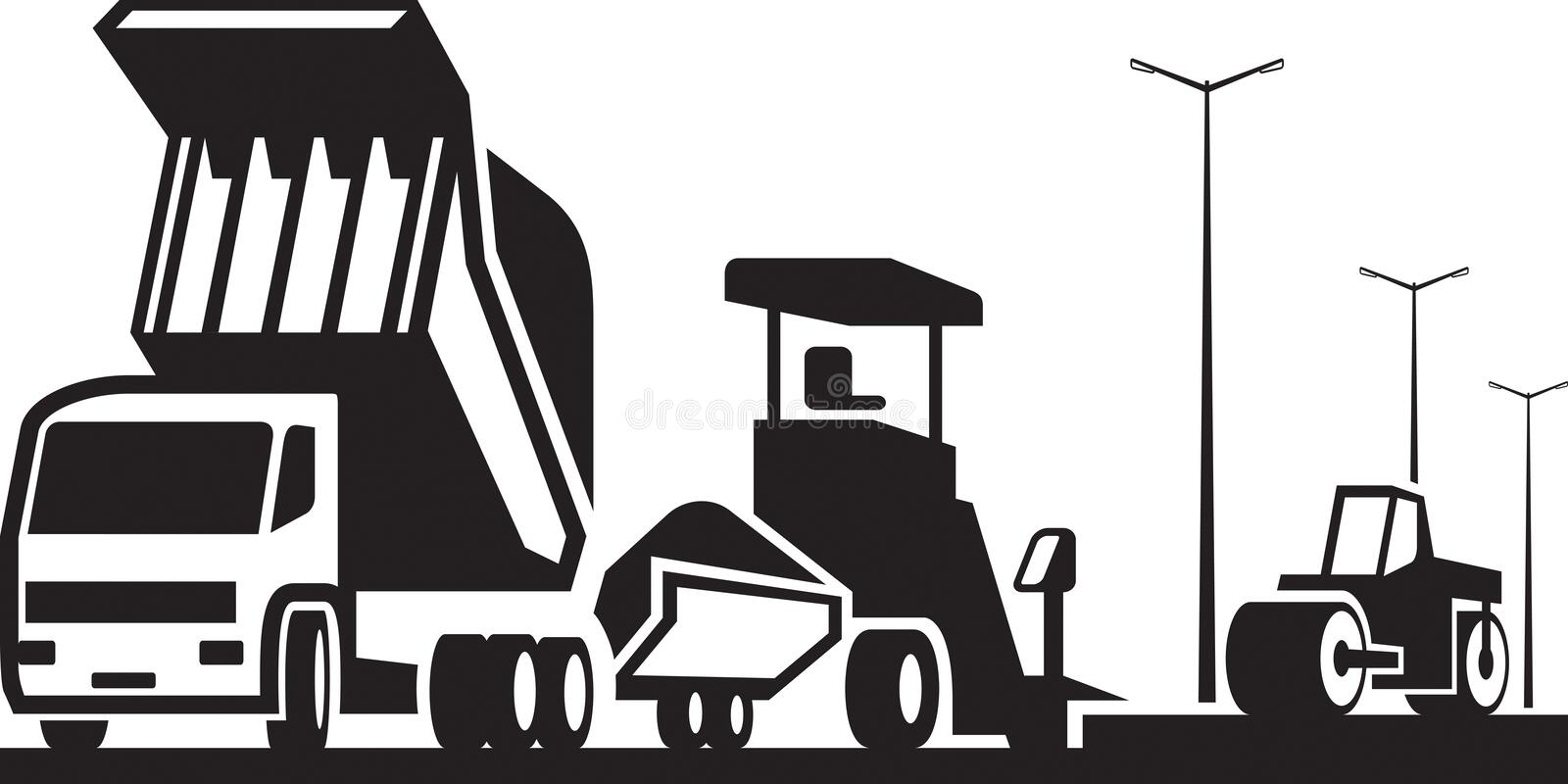Construction of roads streets and highways. Vector illustration vector illustration
