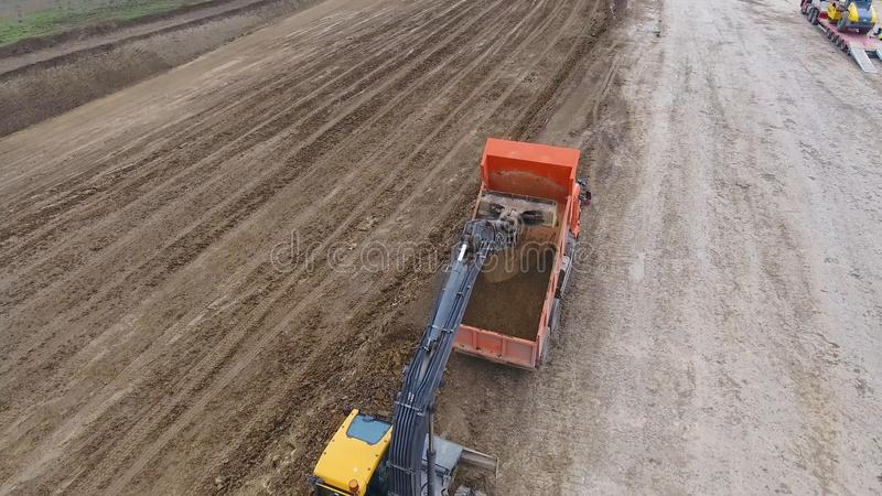 Construction of roads and transport pipelines. Site construction royalty free stock photography