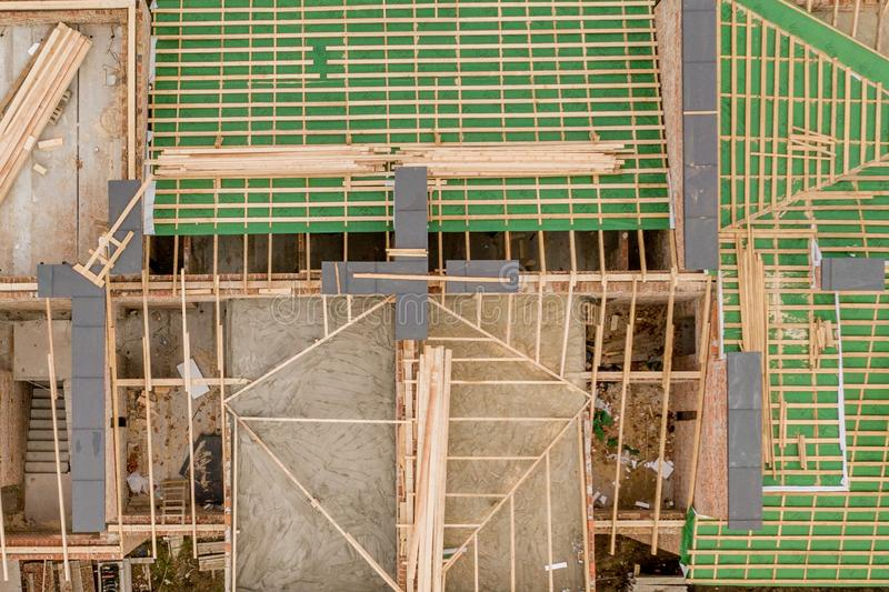 Construction and Roof in progress to new multi-storey building royalty free stock photography