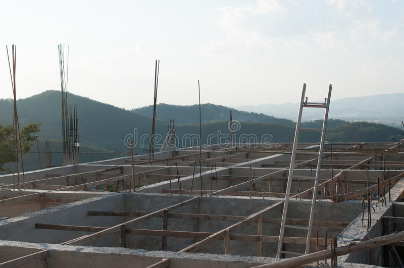 Construction. Roof structure,construction is incomplete stock photos