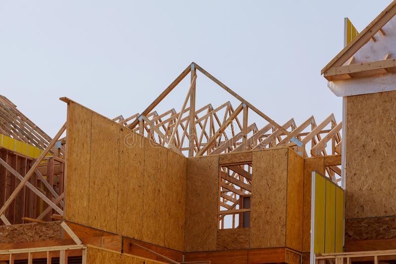 Construction Of Roof Wood Frame Residential Building Under ...