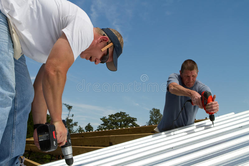 Construction Roofing Crew royalty free stock image