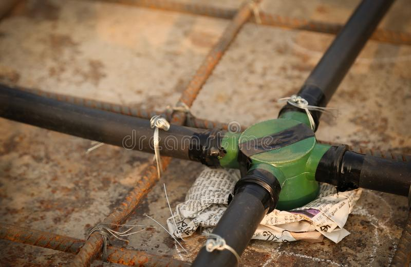 Construction of rooftop pipe line stock image