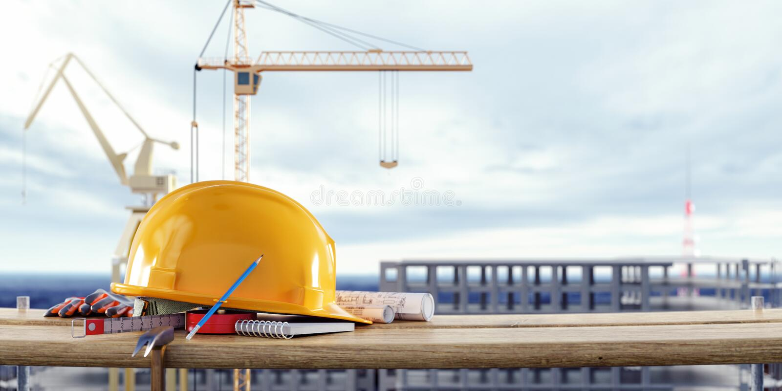 Construction safety equipment with cranes in front of the unfinished building. 3D Rendering stock photo
