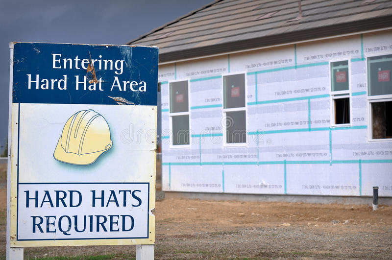 Construction Safety Hard Hat Sign stock photos